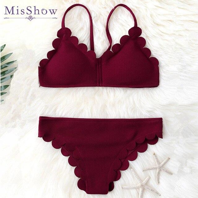 d46d232a48bb0 Misshow New 2019 Solid Burgundy Wavy Edge Cross Straps Women Swimsuit  Bikinis Set Bathing Suits Swimwear