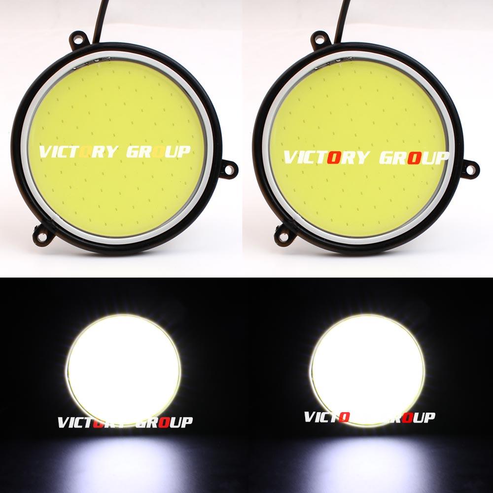 2шт супер яркий 12V СИД DRL cob ДХО диаметр 30W круглая 90мм автомобиль дневного света Белый DRL