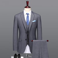 men suit 2018 summer smart casual single breasted plus size mens suits with pants prom suits men suits for wedding grey plaid