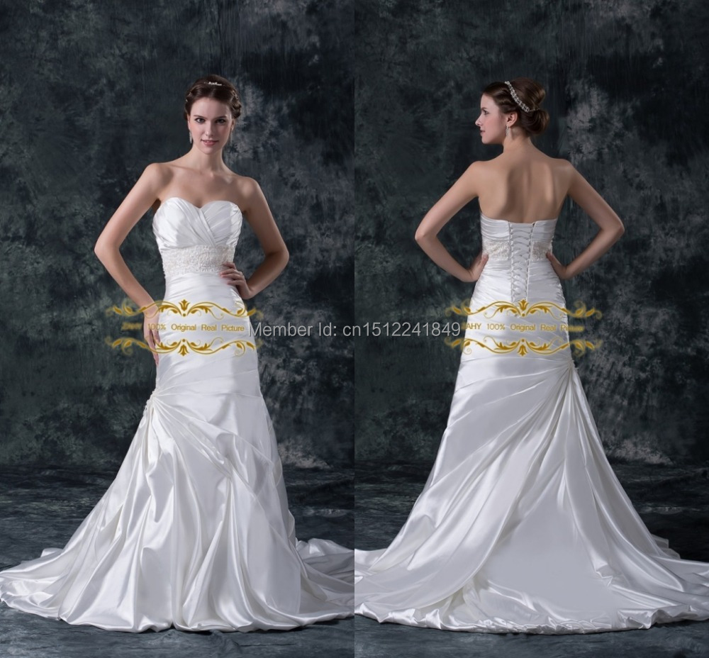 New Arrival Sweetheart Pleats Pearls Bandage Backless Mermaid Court Train Charmeuse In Stock Quick Shipping Wedding