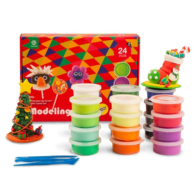 Robotime 24 colors Modeling Clay Air Dry Fluffy Slime Plasticine Educational Toys For Children Kids Drop Shipping