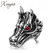 XINYAO 2017 New Stainless Steel Animal Dragon Rings for Men Punk Rock Antique Red Stone Male Ring Party Jewelry Gift Anillos