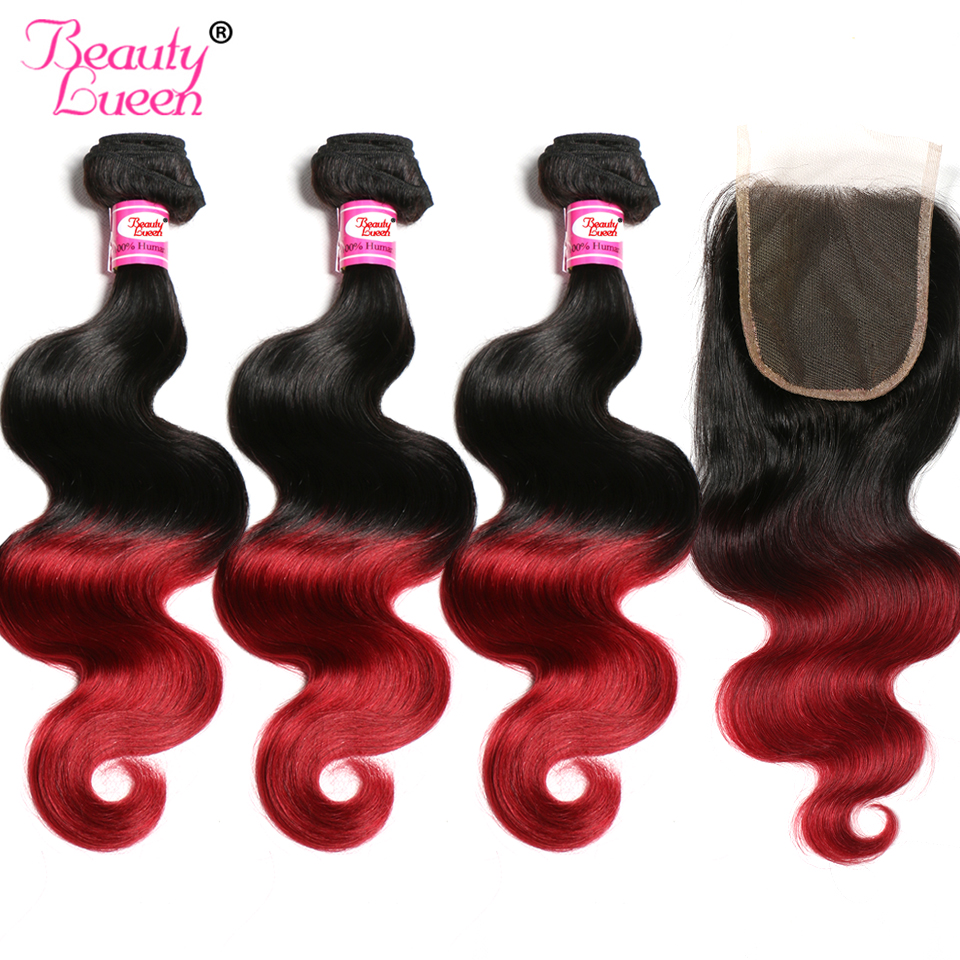 Ombre Brazilian Body Wave 3 Bundles With Closure 1B/Burgundy Ombre Human Hair Bundles With Closure 99J Red Remy Hair BeautyLueen