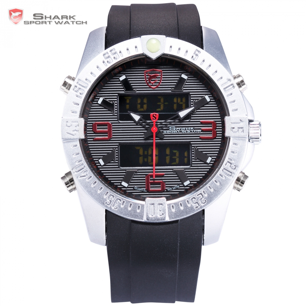 New SHARK Sport Watch Fashion Black Digital Date Alarm Stopwatch Rubber Band Waterproof  Male Quartz Men Brand Clock/ SH375 2016 brand new date day men model design fashion trends quality rubber band japan quartz black watch relogio masculino