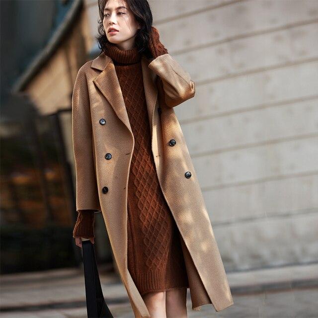IRINAW902 mới xuất hiện 2018 handmade đôi phải đối mặt với Len Cổ Điển đôi rời dài Cashmere Áo Khoác Len Nữ