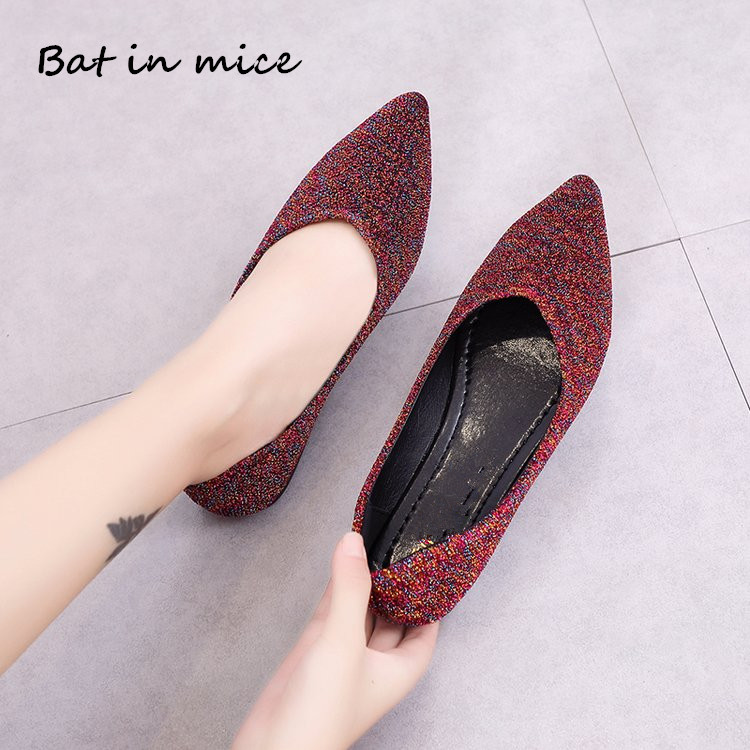 autumn women shoes Sequined Cloth casual Shallow flats women shoes Ballet dancing shoes Mujer zapatos plus size 35-40 mujer W660 new women casual boat ballet shoes women round toe flats oxfords breathable lace up walking shoes zapatos plus size 35 40 w237