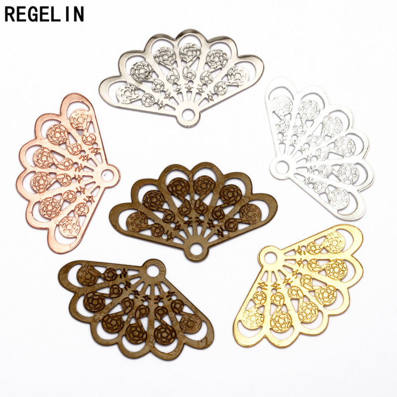 REGELIN 20pcs/lot Vintage Style 6 Colors Copper Fan Shape Filigree Hollow Charms Jewelry accessories DIY Components 14*23mm