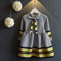 2016 Новых прибыть девочка осень платье детей мода маленькая плед одежда для детей повседневная хлопок принцесса девушки платья с бантом