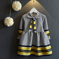 2016 Nuevo llega el vestido del otoño del bebé niños de la manera poco a cuadros ropa de los niños ocasionales del algodón princesa vestidos de las muchachas con el arco