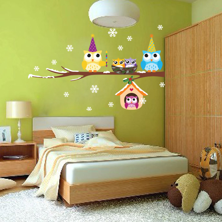 Free Shipping Animal Cartoon Owls On Tree Wall Stickers For Kids ...