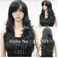 black wavy wig fashion wig about 22 inches free shipping