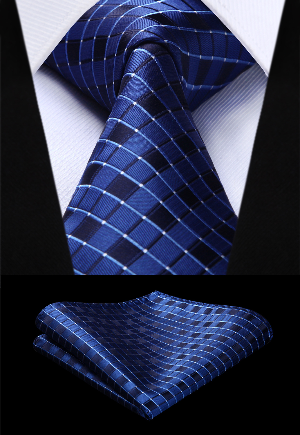 Party Wedding Classic Pocket Square Tie Woven Men Tie Fashion Navy Blue Check Plaid Necktie Handkerchief Set#TC717V8S