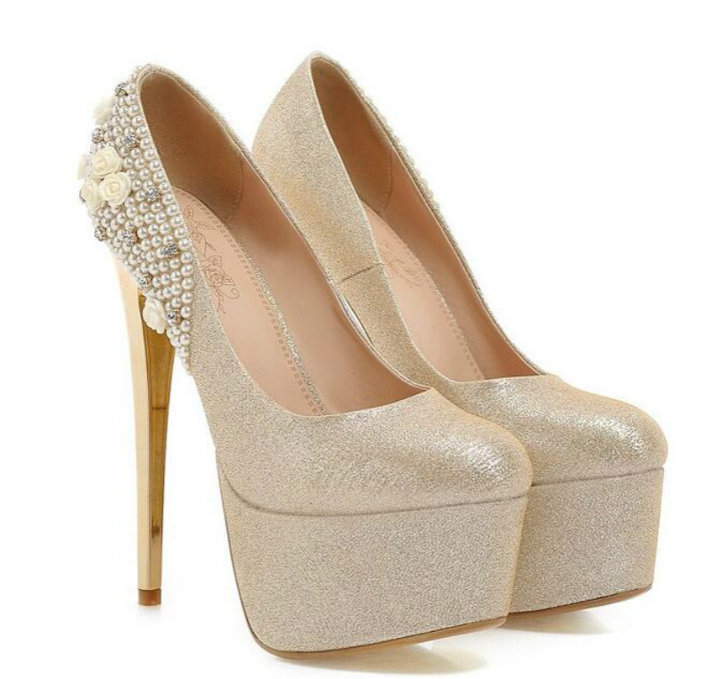 Pearl diamond wedding shoes Bridal shoes wedding wedding shoes Waterproof platform with high silver font b