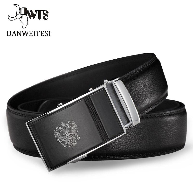 [DWTS] Männer Gürtel Russische Nationalen Emblem 100% Echtes Leder Gürtel Automatische Gürtel Für Männer Luxus Marke Gürtel ceinture homme