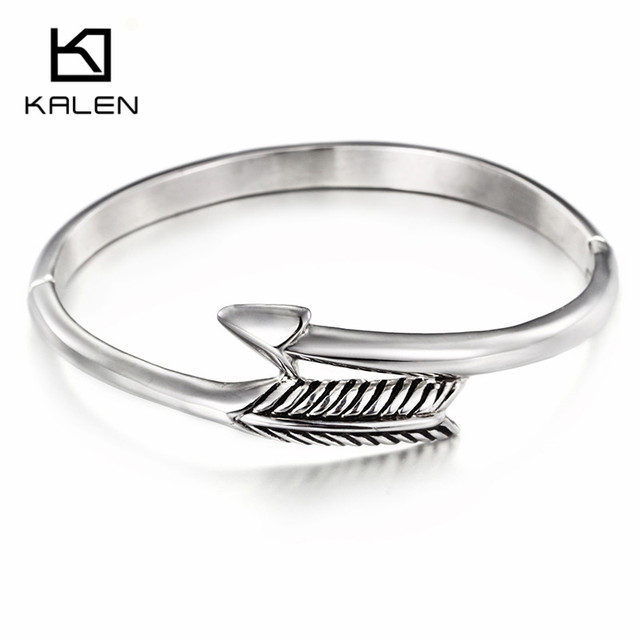 Kalen New Fashion Stainless Steel Silver Color Cuff Bangle Lady's Elegant Double Arrow Shape Bracelet Bangle Gift For Women 2016