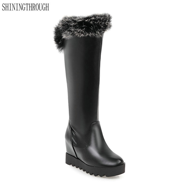 d53dd971227 2018 New sexy knee high boots winter women boots office ladies shoes high  heels snow boots women shoes black white red