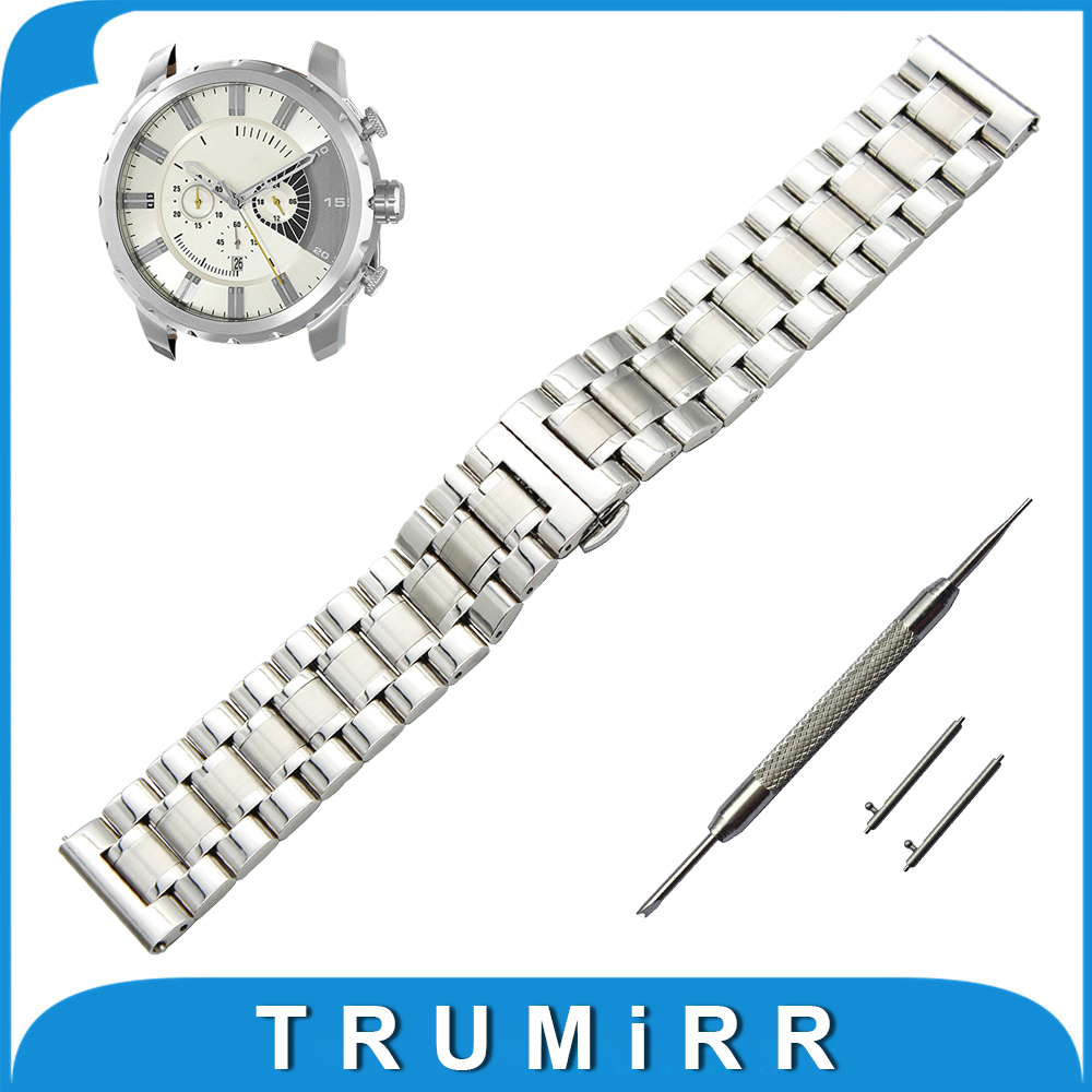 20mm 22mm Stainless Steel Watch Band for Diesel Quick Release Strap Butterfly Buckle Wrist Belt Bracelet Black Silver Grey 18mm 20mm 22mm stainless steel watch band quick release pins for seiko replacement strap wrist belt bracelet black gold silver