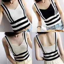 Women Knitting Striped Short Tanks Crop Tops Female Bodycon Knitted Cropped Camisole Sleeveless Short Tee shirts недорого
