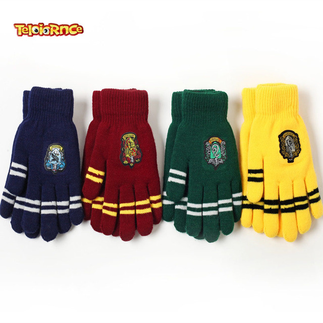 Harri Potter Party Flag Supplies College Gryffindor Touch Screen Gloves Slytherin Hufflerpuff Ravenclaw Kid magic Halloween Gift
