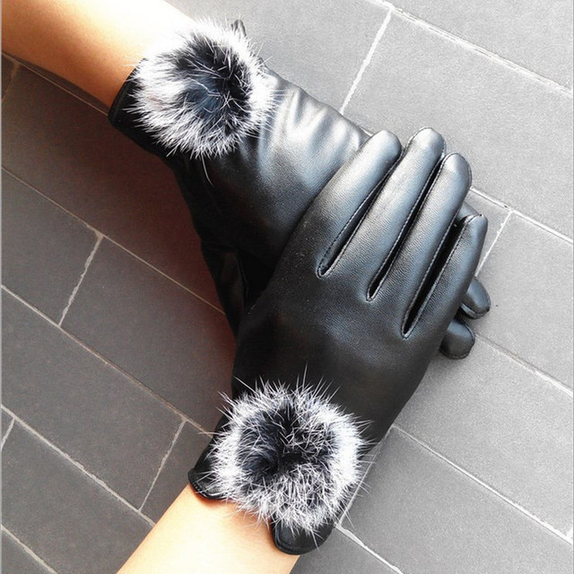 C MISM Winter Warm Mitten Women PU Leather Rabbit Fur Balls Female Gloves  Causal Wrist Soft f8efed2c063a2