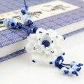 Kongfu in hands марка продукта Горячая Продажа бесплатная доставка лотоса Длинное Ожерелье Свитер Цепи синий и белый керамические аксессуары