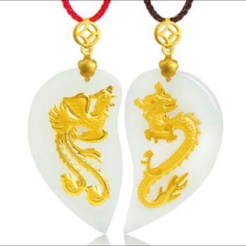 Amantes del oro y Tian Baiyu Corazón en forma de dragón colgante de corazón joyas boutique para siempre pequeño colgante