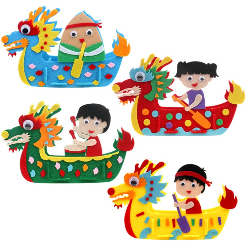 DIY Kids Manual Dragon Boat 3D Model Children Handmade Boat Race Toys Children Non Woven Clothing Preschool Arts Educational Toy