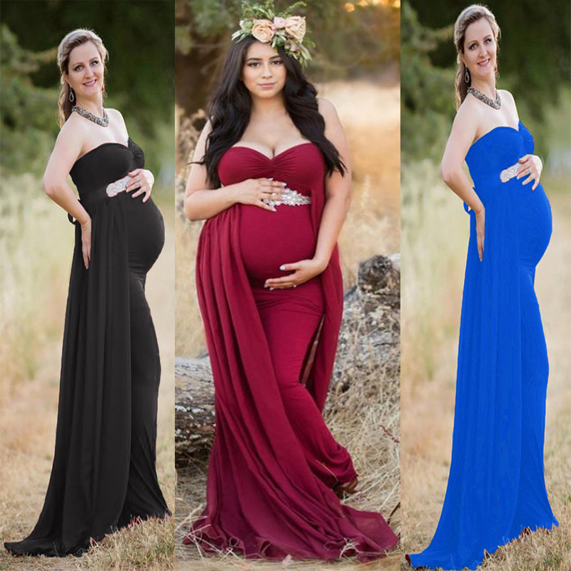2018 Women Pregnancy Dress For Photo Shooting Sexy Off Shoulder Maxi Maternity Gown Chiffon Maternity Dresses Photography Props (1)