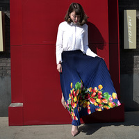 2017 Spring And Summer Print Flowers Elastic Waist Retro Pleated Slim Long Skirt Women Saia Maxi
