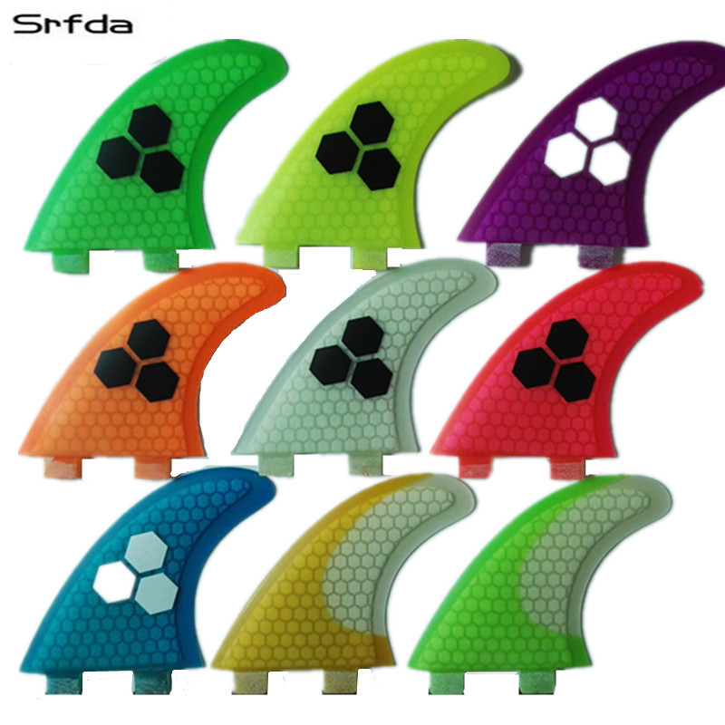 srfda fiberglass and honeycomb blue green orange wihte surfboard fin thruster FCS fin surf fins size M fins  Top quality  top quality orange color fcs ii g7 l surfboard fins made by carbon and honeycomb tri set fcs 2 l thruster fin