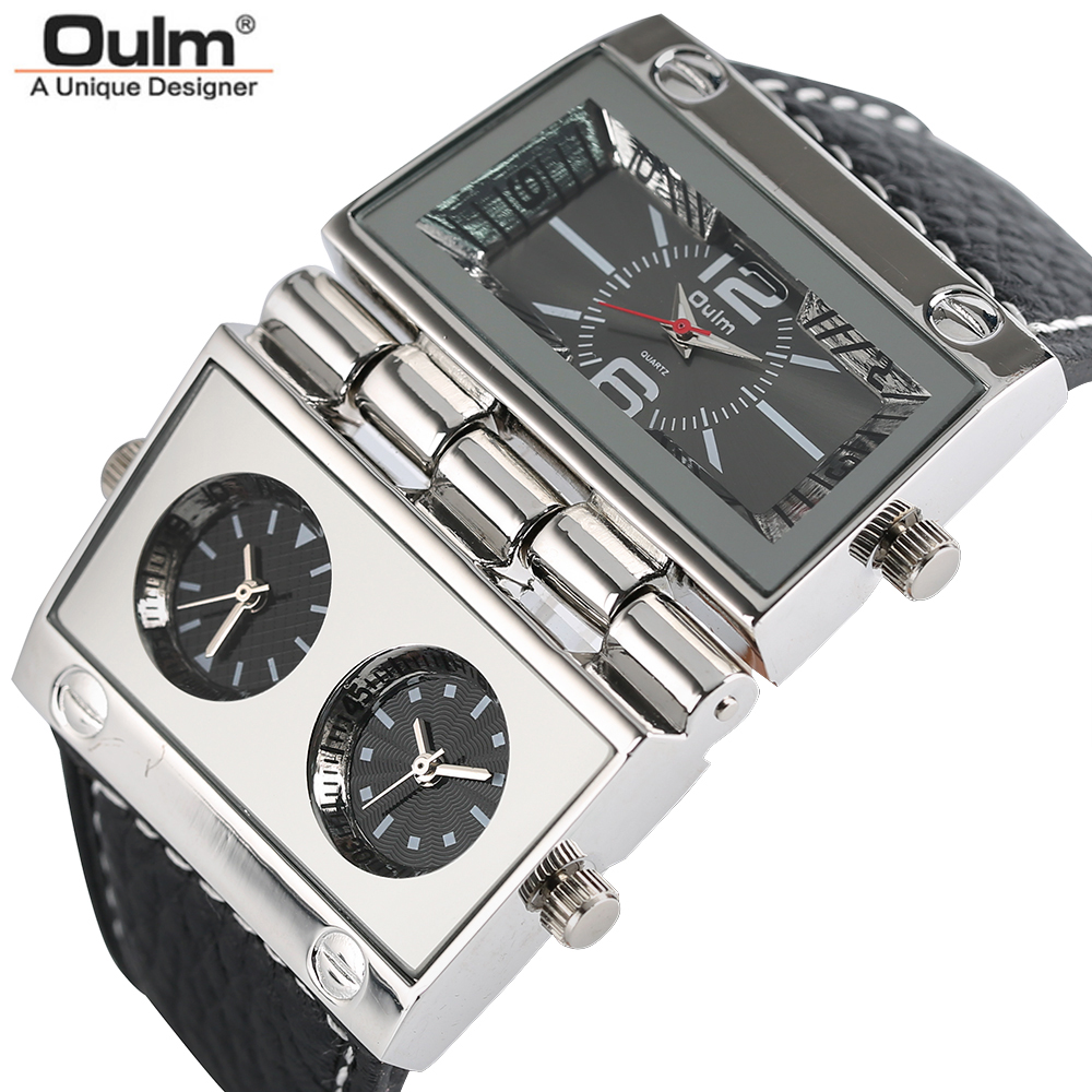 OULM Large Watch for Men Rectangle Radio Style Gig Dial Unique Quartz Wristwatch Male Clock Stylish Military relogio masculino