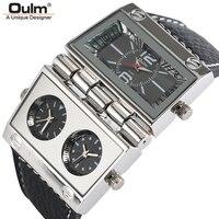 Oulm grand montre pour hommes rectangle radio style concert cadran unique montre à quartz homme horloge élégant militaire relogio masculino