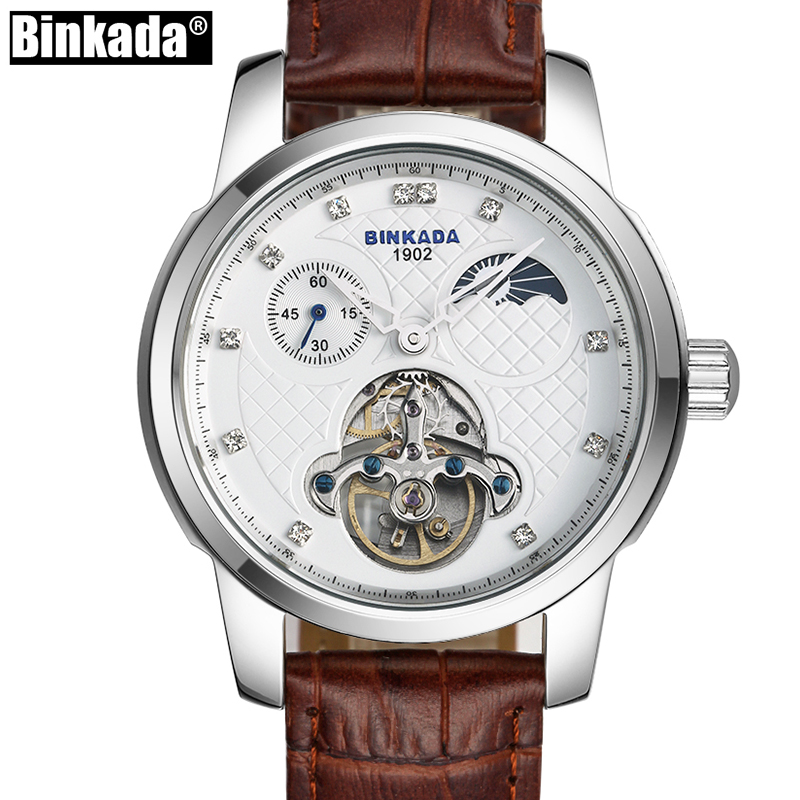 Men Top Brand Luxury Business Leather Steel watch BINKADA Mens High Quality Automatic mechanical Watches Man Relogio Masculino new business watches men top quality automatic men watch factory shop free shipping wrg8053m4t2