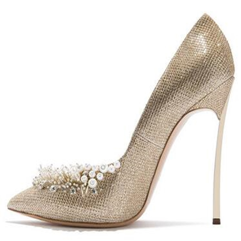 New 2018 Spring Women Pumps Elegant Sequined Cloth Thin High Heels Shoes Sexy Pointed Toe Wedding Single Shoes