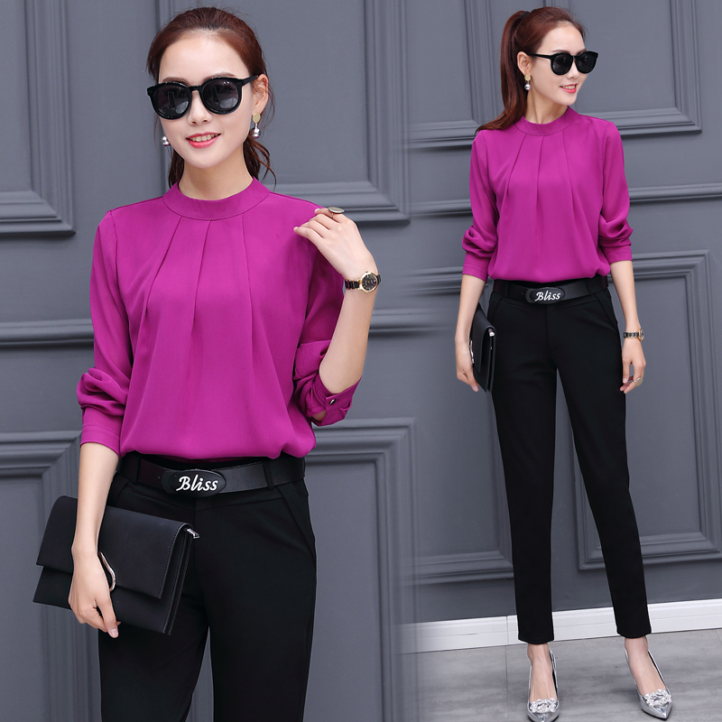 chiffon shirt blouse top black trousers korean fashion ...