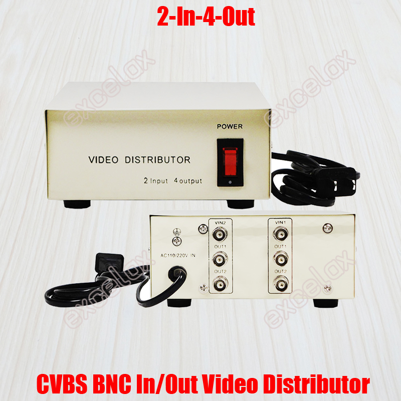 2 In 4 Out Composite CVBS BNC Connector Video Distributor for CCTV Security Camera System 2-4CH Signal Video Splitter Amplifier