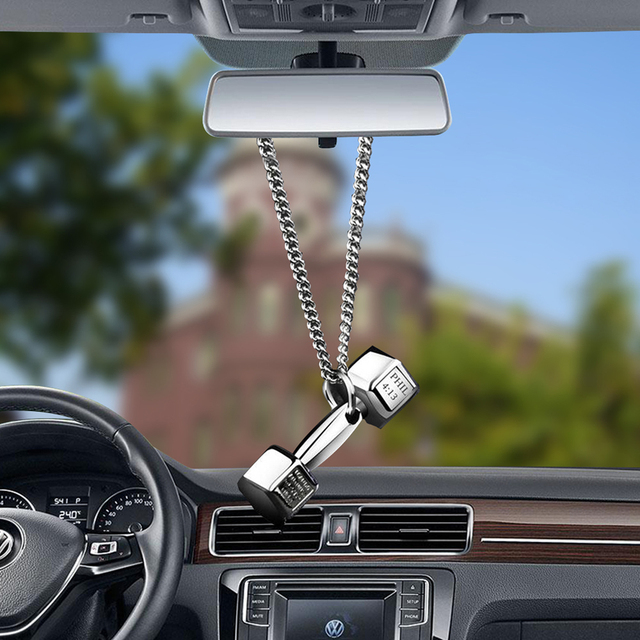 Car Accessories Pendant Mini Dumbbell  Metal Auto Rear View Mirror Decoration Hanging Pendant Interior Ornament Creative Gifts