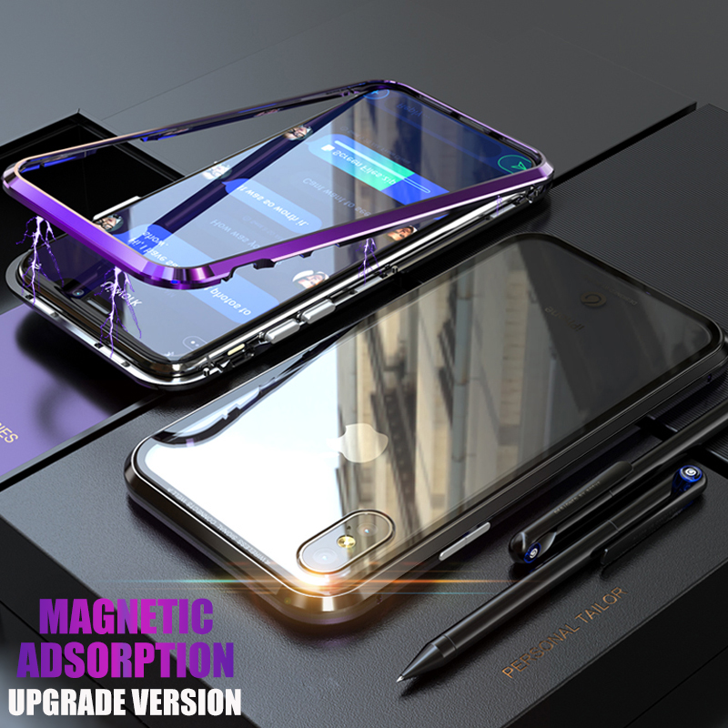 Magneto Upgrade Magnetic Adsorption case for iphone X iphone 7 8 plus case Dual color luxury metal+9H tempered glass cover coque