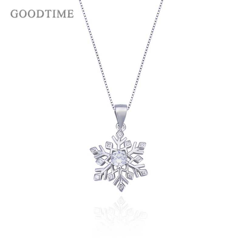 Fashion Real 925 Sterling Silver Necklaces For Women Christmas Snowflake Pendant Necklaces Chain For Women Girl Jewelry Dress Up