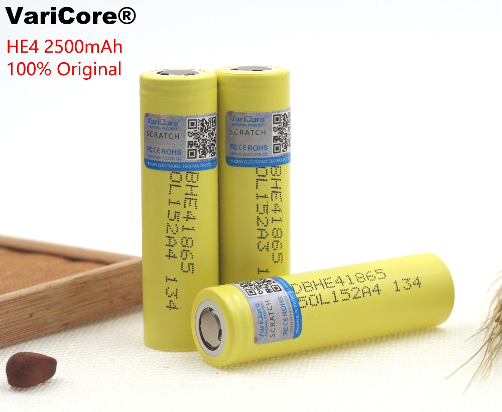 100% New Original HE4 18650 Rechargeable li-lon battery 3.6V 2500mAh Battery can keep For LG Electronic cigarette 20A discharge