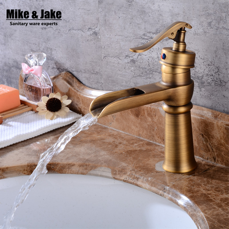 Antique waterfall faucet vintage basin Mixer Waterfall basin Faucet Bathroom Mixer Sink Tap Basin Faucet Vanity Faucets FH6893 new designed antique brass bamboo arts bathroom basin sink drain pop up waste vanity with overflow