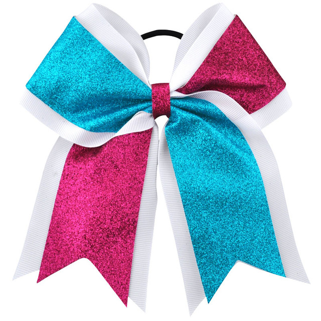 7 Inch Glitter Bling Large Cheerleading bows Bowknot Elastic Hair Band Kids Girls Children Bow Hair Accessories Boutique