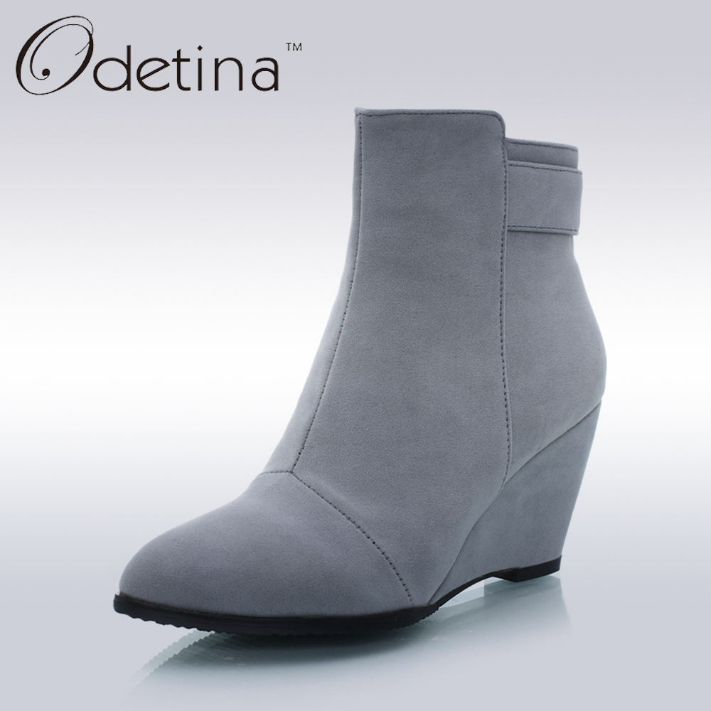 ФОТО Odetina Handmade Sexy Grey Ankle Boots Large Size Suede Wedge Boots 2016 Winter Boots Pointed Toe Womens Booties Ankle Fashion