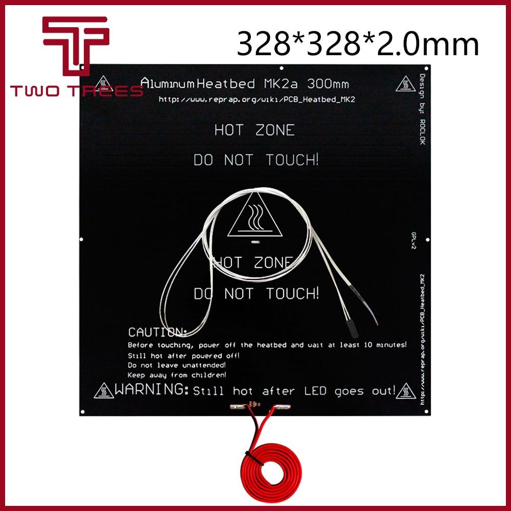 300*300*2.0 MK2A RepRap RAMPS 1.4 PCB Heatbed Plate MK2A  LED Resistor Cable 100k Ohm Thermistors PCB Heat Bed 328*328