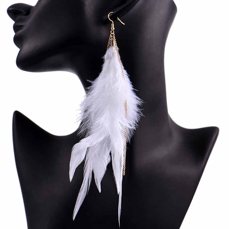 Long Droop Gracful Drake Feather Earrings Statement New Design Rivca Ear Studs for Women Rated Jewelry Exquisite Tassel Jewelry