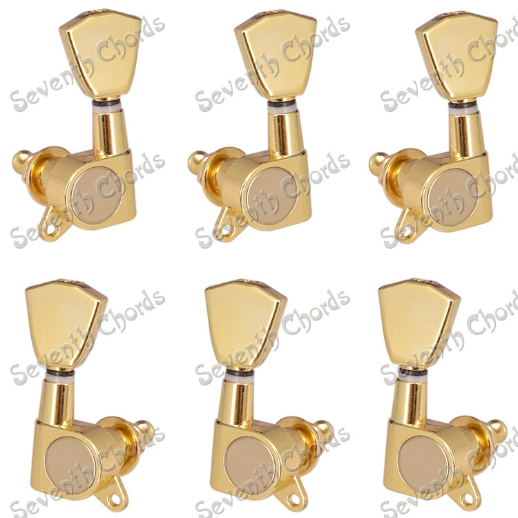 A Set 6 Pcs Gold Guitar string  Tuning Pegs keys Tuners Machine Heads for Acoustic Electric Guitar With Trapezoid Buttons