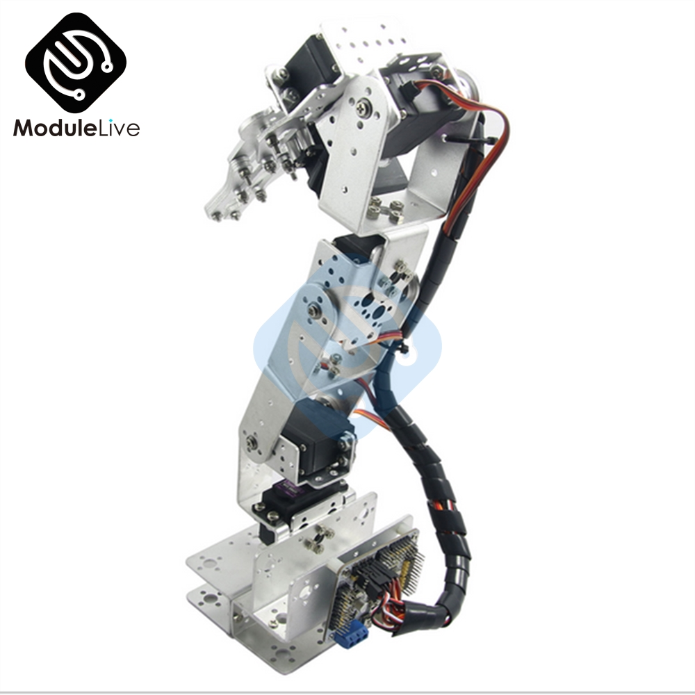 Image 2 - ROT3U 6DOF Aluminium Robot Arm Mechanical Robotic Clamp Claw for Arduino Silver-in Instrument Parts & Accessories from Tools