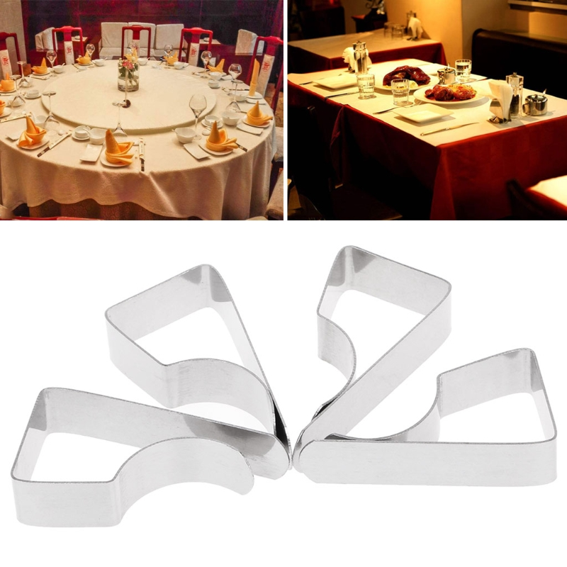 4Pcs Stainless Steel Table Cloth Tablecloth Clip Clamps Holder For Party Wedding 4.8cmx2.4cmx1.2cm
