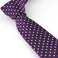 Terno dos homens ties New Design vinho Vermelho com Bolinhas brancas pontos Jacquard Gravatás Gravata Skinny Tie 7 cm Camisas de Vestido de Casamento Corbata