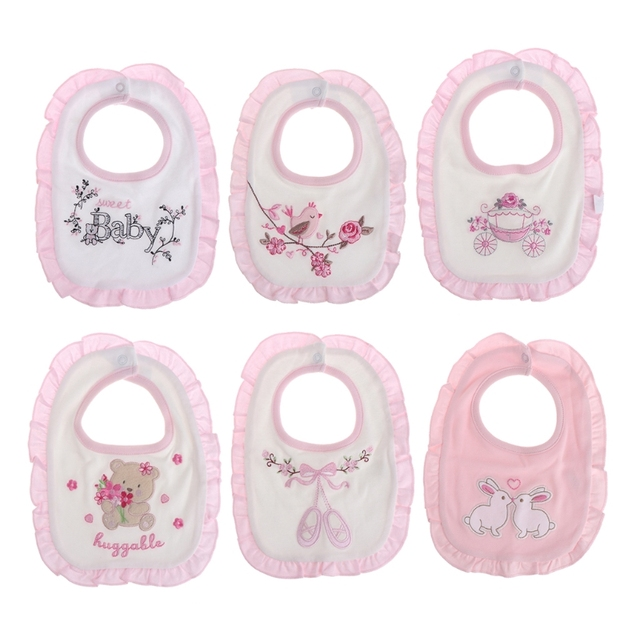 Baby Girl Bibs Princess Pink Style Baby Cotton Bandana Bibs Feeding Saliva Towel